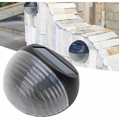 kueatily Applique Murale Solaire à capteur Intelligent Semi-Circulaire,éclairage de Paysage décoratif étanche extérieur,pour escaliers, marches, balcons,Cours(Lumière Blanche)