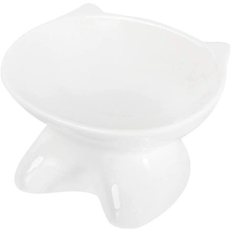 kueatily Blanc Céramique Gamelle pour Chat avec Support surélevé, pour Chats et Chiens de Petite Taille