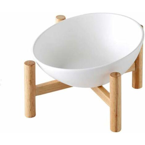 kueatily Blanc Porte-gamelle Surélevée Gamelle incliné pour Chien et Chat Céramique avec Bambou Support en Bois Petit