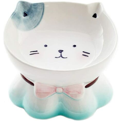 kueatily Bleu Céramique Gamelle pour Chat avec Support surélevé, pour Chats et Chiens de Petite Taille