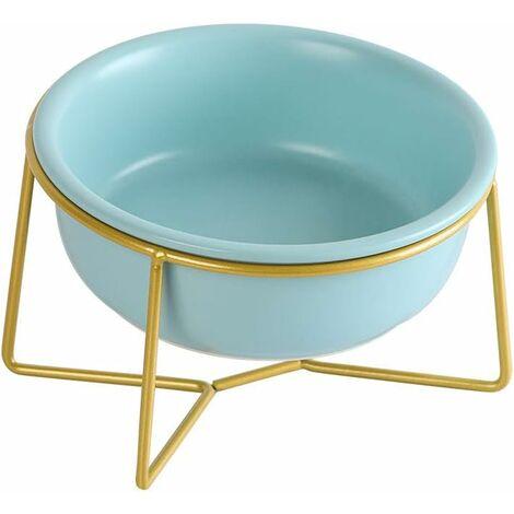 kueatily Bleu Porte-gamelle Surélevée Gamelle incliné pour Chien et Chat Céramique avec Support Petit