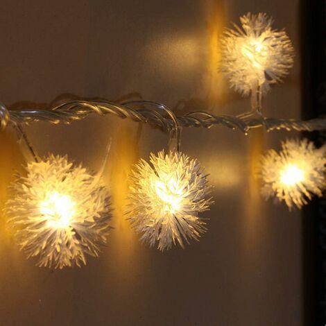 kueatily de Boules de Neige, 8.2ft / 20 LED Guirlande Lumineuse de Noël avec Télécommande, étanche Décoration pour Intérieur Et Extérieur Fête de Mariage Sapin de Noël (Blanc Chaud)