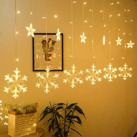 kueatily Guirlande Lumineuse Rideau Lumineux Flocon de Neige LEDs avec Prise Guirlande Lumineuse Intérieur Décoration Arbre Noël Fenêtre Mariage Maison (Blanc Chaud)