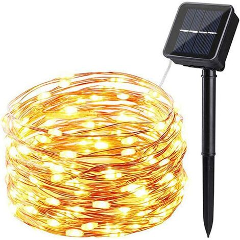 kueatily Guirlande lumineuse solaire d'extérieur - 20 M200 LED - Étanche - Fil de cuivre - 8 motifs clignotants - Guirlande lumineuse LED pour sapin de Noël - Blanc chaud