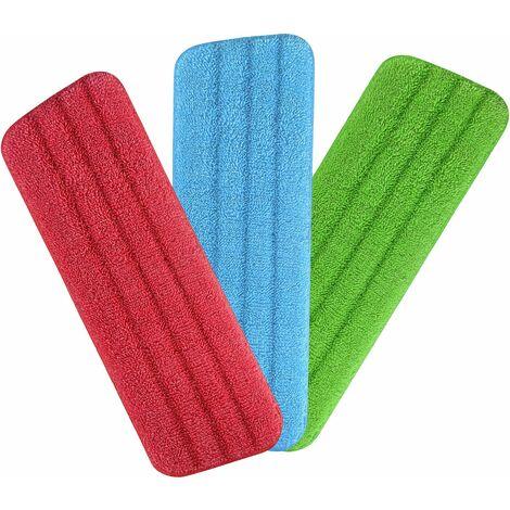 kueatily Housse de Nettoyage de Rechange, 3pcs Mop Remplacement des Tampons, Housse de Rechange pour Balai Plat Nettoyage en Microfibre (42 x 14.5cm)