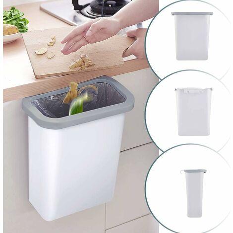 kueatily Kitchen Poubelle 10L Wall Mounted pour Voiture Bureau à Domicile Cuisine Can (Blanc)