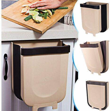 kueatily Kitchen Poubelle Pliable Wall Mounted pour Voiture Bureau à Domicile 9L (Marron)