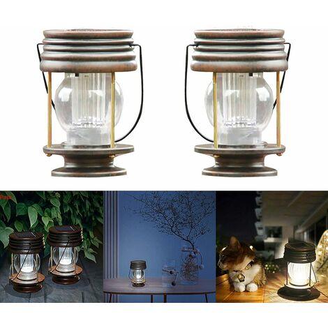 kueatily Lanterne Extérieur à Lumière Solaire, Pack De 2 Lampes Suspendues Rétro Jardin Lanternes Décoratives Pour Patio Patio Bureau Fête Intérieure Extérieure (Blanc Froid, Lampe Suspendue Cheval)