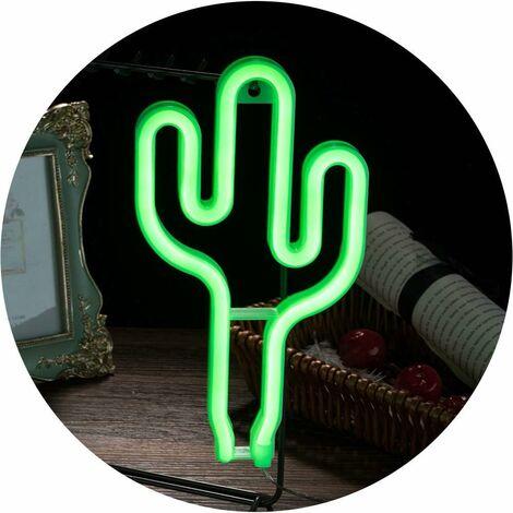 kueatily LED verte Cactus Neon Light batterie ou néon LED Powered USB Se connecter Décorations murales Night Lights pour les enfants Cadeaux pour enfants Accueil Décoration Party Supplies Intérieur