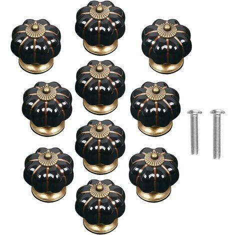 kueatily Lot de 10 Pièces boutons de porte vintage en céramique en forme de citrouille pour placard, tiroir, armoire, décoration d'intérieur Noir