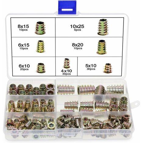 kueatily Lot de 120 écrous hexagonaux en alliage de zinc M4 M5 M6 M8 M10 avec inserts filetés pour meubles en bois avec boîte en plastique