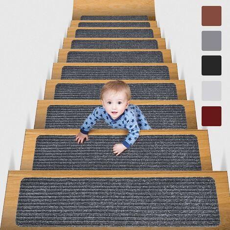 kueatily Marchettes d'escalier Tapis De sécurité Antidérapant Tapis d'intérieur Antidérapant Pour Enfants, Gris15 pièces