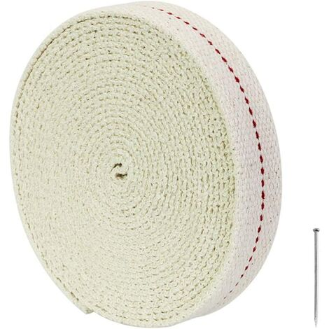 kueatily Mèche de Lampe, 450CM Mèche de Lampe à Huile Plate en 100% Coton Mèches de Rechange Lanterne Largeur 2CM pour Lampe à Petrole Huile Brûleur (Blanc)