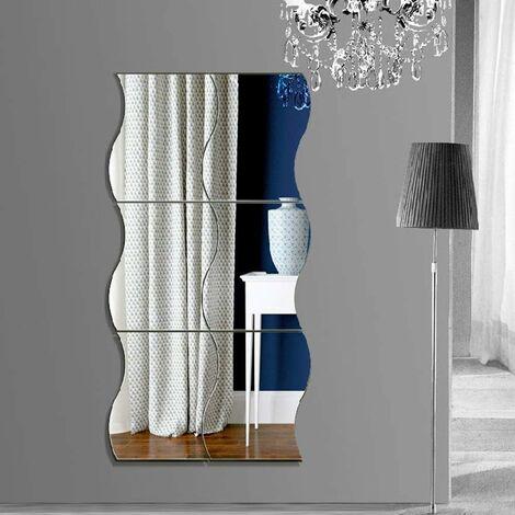 kueatily Miroir Murale adhesif,6pcs Argenté Miroir Autocollant Mural,Forme en Plastique Ondulé Mur en Plastique DIY Decal Miroir pour La Décoration De Surface Bureau À La Maison (Argent, 30 x 25cm)