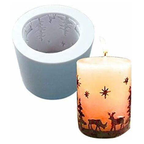 kueatily Moule en silicone pour bougies de Noël - Moule à bougie - Moulage en béton - Moule en céramique - Fait à la main