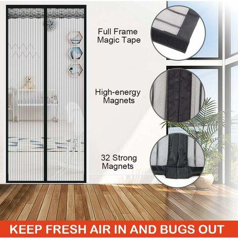 kueatily Moustiquaire de Porte Magnétique Fermeture Automatique Rideau Porte Anti Insectes Mouche Moustique avec Aimants, Noir (120*220cm)
