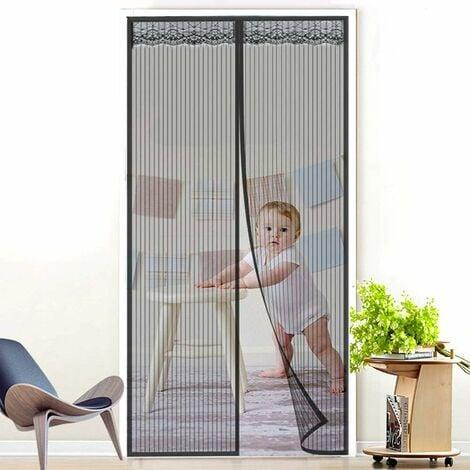 kueatily Moustiquaire de Porte Magnétique Fermeture Automatique Rideau Porte Anti Insectes Mouche Moustique avec Aimants, Noir (90 x 210 cm)