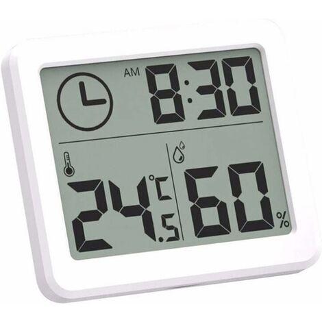 kueatily Numérique Intérieur Thermomètre d'hygromètre, Station Météo Réveil LCD C/F Commutable Compteur d'humidité de la Température Support Mural et Support de Table