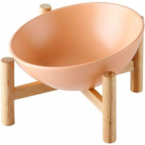 kueatily Orange Grand Porte-gamelle Surélevée Gamelle incliné pour Chien et Chat Céramique avec Bambou Support en Bois Grand