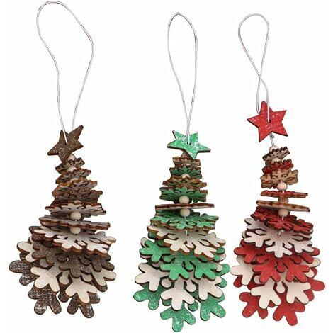 kueatily Pendentif en bois de Noël , 3 pièces de sapin de Noël ornements d'arbre de Noël décoration de Noël (flocon de neige)