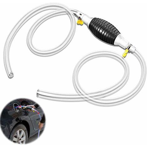kueatily Pompe à essence à essence Pompe à main Pompe à essence de voiture Déflecteur portatif pour pompe de secours à carburant Pompe de transfert pour bateau Véhicule de voiture Diesel Essence huile Eau Tuyau de 2 m