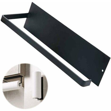 kueatily Porte-Rouleau de Papier essuie-Tout sans perçage - Support Mural pour Papier essuie-Tout de Cuisine, Toilettes, Salle de Bain - pour 1 Rouleau - Noir