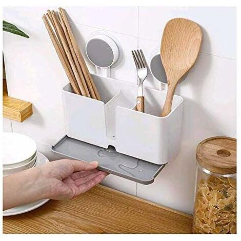 kueatily Porte-ustensiles de cuisine avec 2 ventouses et égouttoir pour couverts, éponges, brosses, grattoirs, baguettes