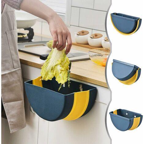 kueatily Poubelle Pliable Cuisine Montage Mural Cuisine Poubelle pour Placard, Bureau,Bain,Chambre et Voiture (Bleu)