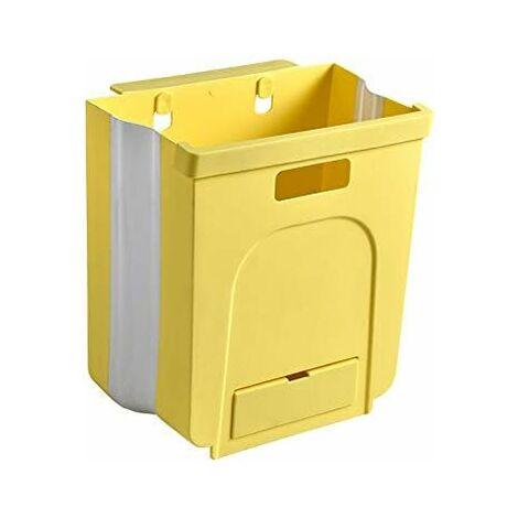 kueatily Poubelle Pliante Suspendue Bacs à ordures de Cuisine Sacs à ordures, pour Voiture, Salle de Bains, Salle de séjour, Chambre à Coucher Jaune