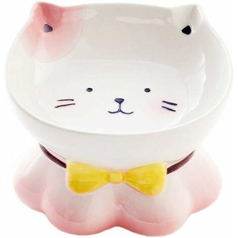 kueatily Rose Céramique Gamelle pour Chat avec Support surélevé, pour Chats et Chiens de Petite Taille