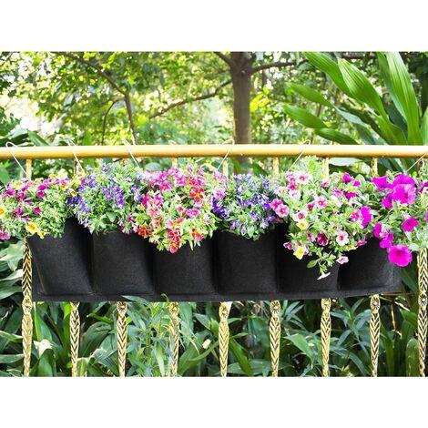 kueatily Sac de Plantation Vertical, Jardin Sac à Plantes Mural Jardinière Suspendue Balcon Pot à Suspendre Intérieur Extérieur Fleur 6 Poches (Noir)