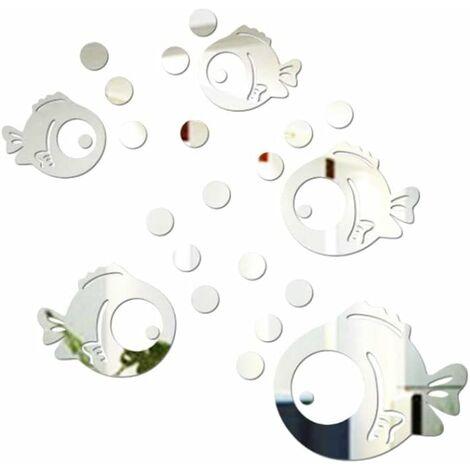 kueatily Sticker Mural Acrylique 3D Poisson et Bulles Autocollants Miroir pour Chambre Salon Salle de Bain décoration Argent