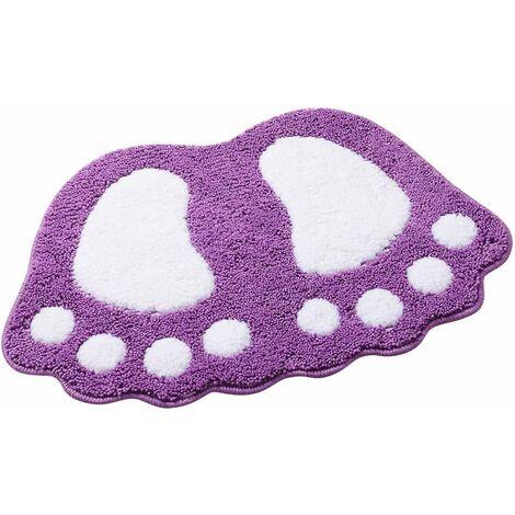 kueatily Tapis de bain antidérapant Motif grands pieds Pour salle de bain, douche Absorbant-Violet 48*67CM