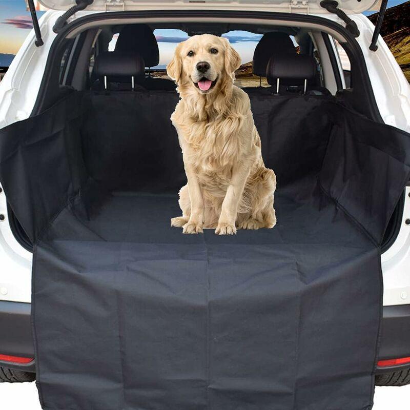 Tapis de coffre de voiture universel étanche avec rabat pare-chocs, compatible avec voitures, 4x4, breaks, camions, hayon, SUV (long, noir) - Kueatily