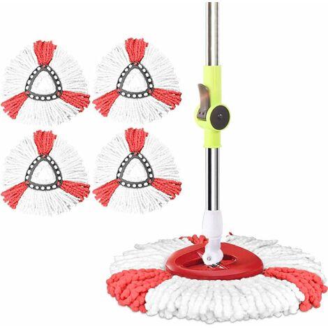kueatily Tête de Balai Serpillère en Microfibre Tête de Vadrouille Rechange 2 en 1 Tête de Balai à Franges Triangulaire Tete Serpillère -4 Pcs