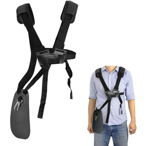 kueatily tondeuse à bandoulière-tondeuse à harnais double épaule avec ceinture de nylon durable Adjuestable pour débroussailleuse ou Gardenning ( Noir pour STIHL FS, taille-bordures série km)