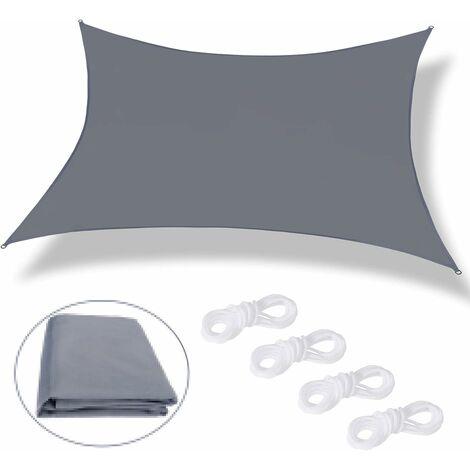 kueatily Voile d'ombrage Rectangulaire Voile Ombrage 2 X 3m Imperméable, Protection 98% UV avec Coupe Vent Respirant, pour Toile pour Pergola Terrasse Balcon Jardin Extérieur