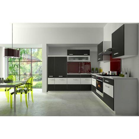 Küche Fabienne 260x220 cm Küchenzeile in schwarz / weiß ...