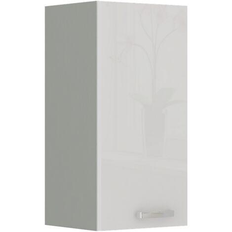Küche Hängeschrank 30 Bianca Weiß Hochglanz + Grau Küchenzeile Küchenblock Vario