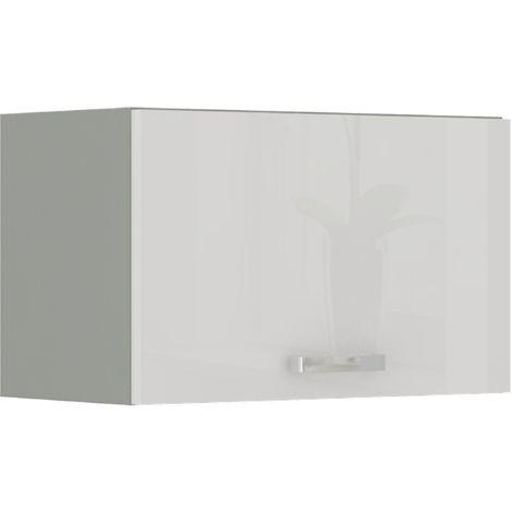 Küche Hängeschrank 60 Bianca Weiß Hochglanz + Grau Küchenzeile Küchenblock Vario