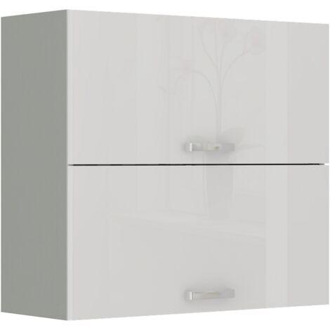Küche Hängeschrank 80 Bianca Weiß Hochglanz + Grau Küchenzeile Küchenblock Vario