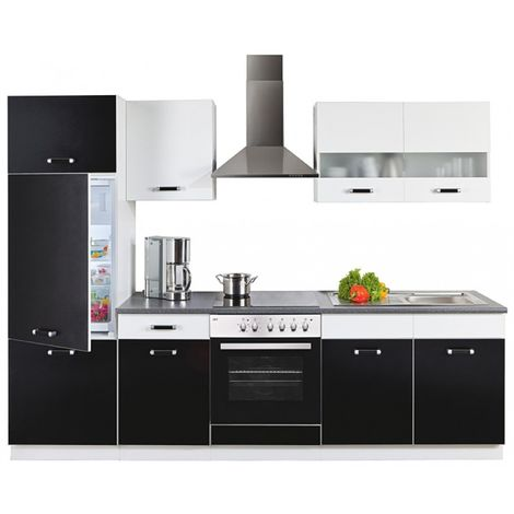Küche Karina 270 cm Küchenzeile / Küchenblock variabel stellbar in  Schwarz+Weiss
