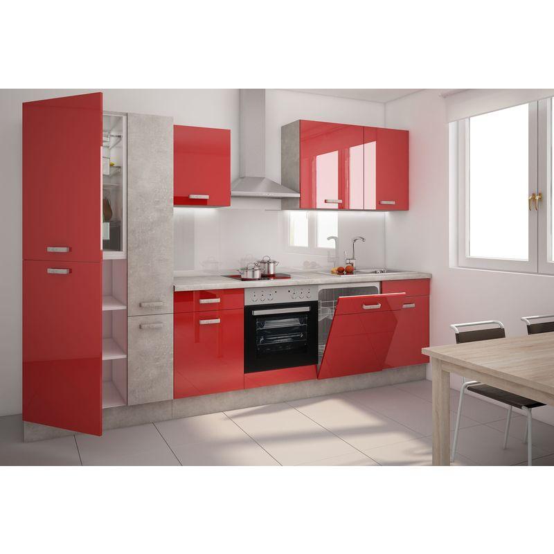 Küchen Preisbombe - Küche TOM 310 cm Küchenzeile Küchenblock Einbauküche Hochglanz Rot + Betonoptik