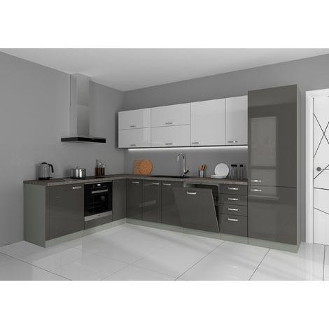 Küche Vario Ecke IV 210x330 cm Küchenzeile in Hochglanz Grau+Weiss Küchenblock
