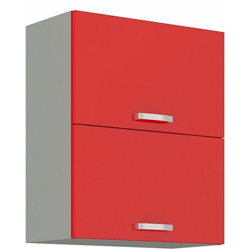 Küchen Hängeschrank 60 Glanz Rot Grau Küchenzeile Küchenblock Küche Rose Bianca - KÜCHEN PREISBOMBE