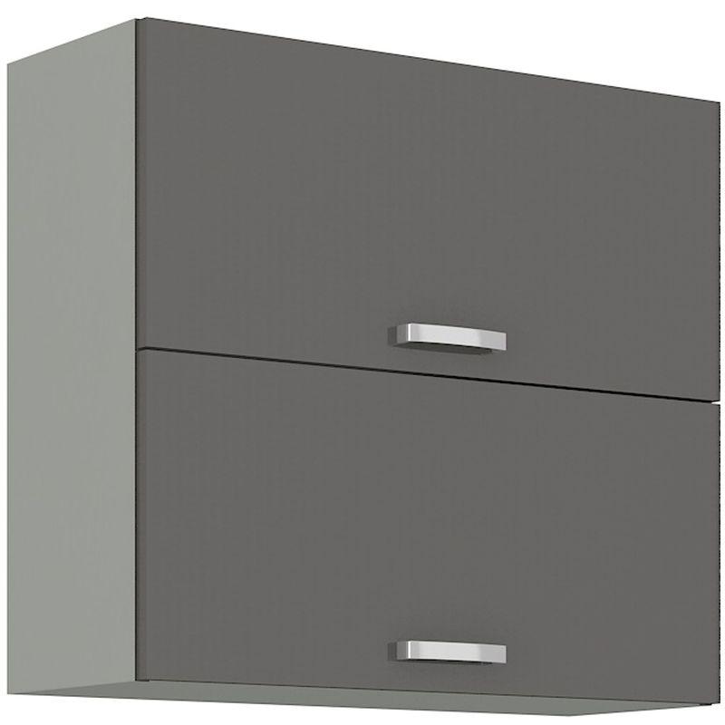 Küchen Hängeschrank 80 Hochglanz Grau Küchenzeile Küchenblock Küche Grey Bianca - KÜCHEN PREISBOMBE