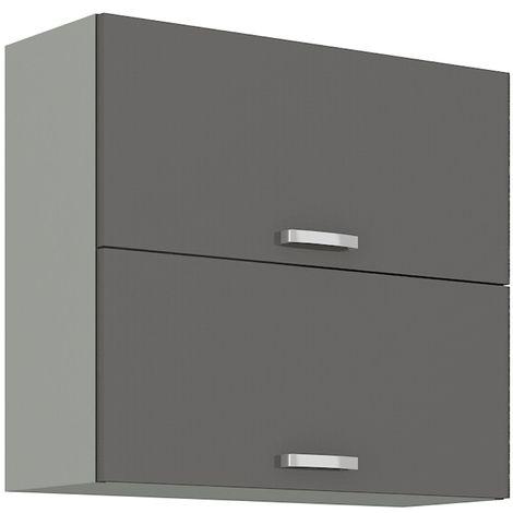 Küchen Hängeschrank 80 Grey Hochglanz Grau Küchenzeile Küchenblock Küche Vario