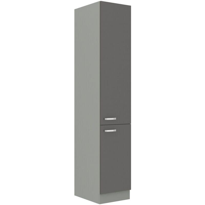 Küchen Hochschrank 40cm Hochglanz Grau Küchenzeile Küchenblock Küche Grey Bianca - KÜCHEN PREISBOMBE