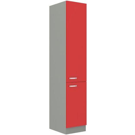 Küchen Hochschrank 40 cm Rose Hochglanz Rot + Grau Küchenzeile Küchenblock Küche