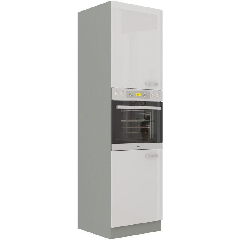 Küchen Hochschrank 60 Bianca Weiß Hochglanz + Grau Küchenzeile Küchenblock - KÜCHEN PREISBOMBE